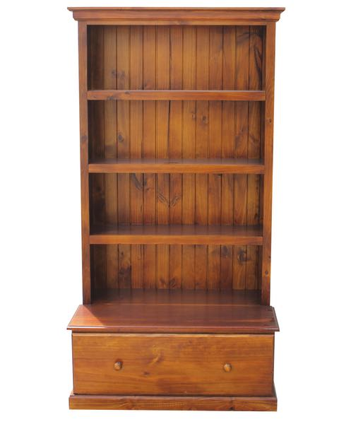 6×3 Deluxe Bookcase w: 1Drawer Stained Walnut