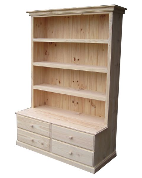 6×4 Deluxe Bookcase Raw 4 Drawers